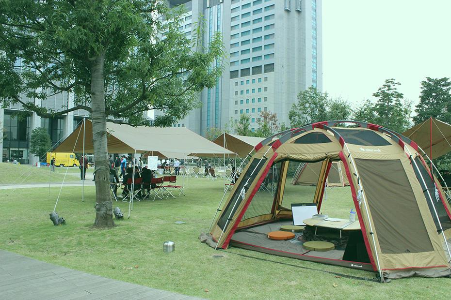 Outdoor office project shinagawa season terrace ntt for Terrace house new season